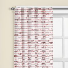 The Land of Nod | Kids' Curtains: Kids Red Patterened Curtain Panels in Curtains & Hardwares