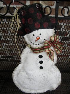 snowman burlap door hanger, DIY! i want to make you :)