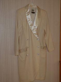 I Magnin Cream Dress in Wool Crepe and Satin by FeistyFarmersWife, $60.00