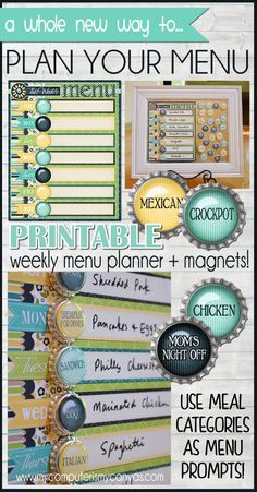 Printable MENU PLANNER - super fun new way to plan your weekly menu!  You use these magnets to help you outline your meal categories for the week, then write in the recipe.  GENIUS!! #mycomputerismycanvas