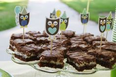 cute idea- cream cheese brownies with owl cupcake toppers