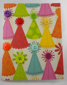 Cute card idea! Embellished party hat scrapbook paper with buttons.