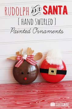 Rudolph and Santa - hand swirled painted ornaments