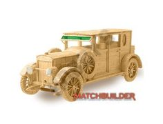 This Matchbuilder Car from Hobby's includes everything needed to make this matchstick model kit.  Included are all the pre-cut card formers along with the glue, matchticks and full instructions.    These instructions will guide you through each stage of the construction until you finally achieve the finished product.    We would highly recommend this Matchbuilder Car.