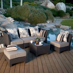 Have to have it. Coral Coast Fiji Isle All-Weather Wicker Sectional Conversation Set - Seats 4 - $1099.98 @hayneedle.com