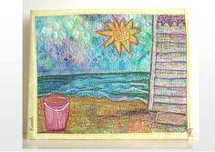 Beach Art Thread Painting Original, Ready to Hang, 8x10, Fiber Art Over Canvas
