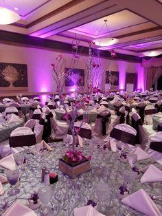 Eldorado Country Club - Wedding Reception Ballroom in Purple  www.eldoradocc.com wedding receptions, purple, catering, recept ballroom, ballrooms, country club, florals, centerpieces, branch centerpiec