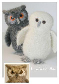Wool Owl Knitting/Felting Pattern by woollysomething on Etsy, $10.00
