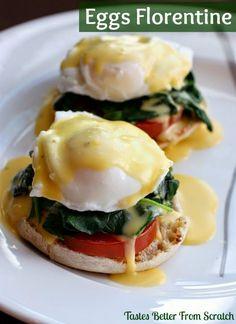 Easy Homemade Eggs Florentine from TastesBetterFromScratch.com