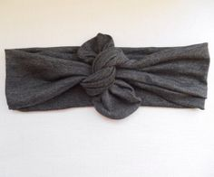 Heather charcoal gray jersey knotted headband wrap