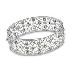 Peridot Hearts and Diamonds Bangle in Sterling Silver - Zales