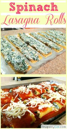 Easy recipe for spinach lasagna rolls. Freezes really well!
