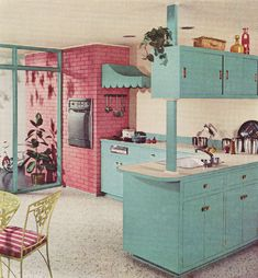 A cheerfully fun aqua and pink kitchen from 1960. #pink #aqua #turquoise #vintage #retro #1960s #home #decor #kitchen