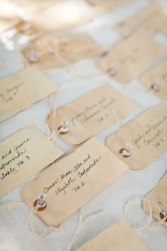 Aged placecards.