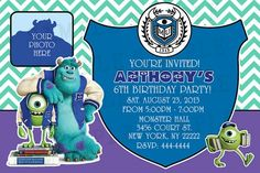 Monsters University Birthday Invitation Personalized with your Info | thepartybean - Digital Art  on ArtFire