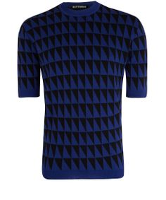Blue Triangle Patterned Wool Jumper | Raf Simons