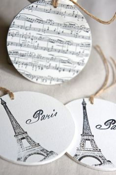 Wooden gift tag set of three painted tag stamped tag handmade tag french gift tag by My Sweet Maison