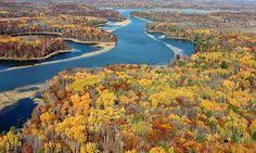 Autumn colours paint the landscape around the Mississippi River near Brainerd, Minnesota. Photograph: Steve Kohls/AP