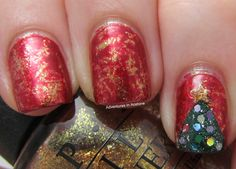 Adventures In Acetone: Holiday Saran Wrap Nails!