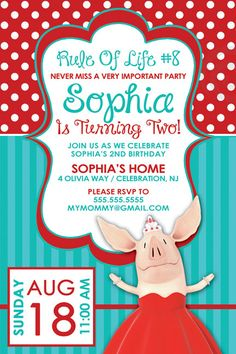 Olivia the Pig Invitation. 4x6 or 5x7. by MommyMonsterDesigns, $12.98