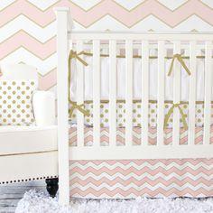 Metallic Coral Chevron Crib Bedding Set
