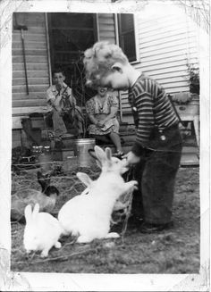 1940's Vintage Photo of A Boy And His Rabbit