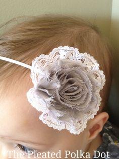 Shabby grey flower with lace headband- Girls Headband- Baby Headband. $6.00, via Etsy.