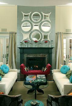 modern fireplace black cornice mirror collage