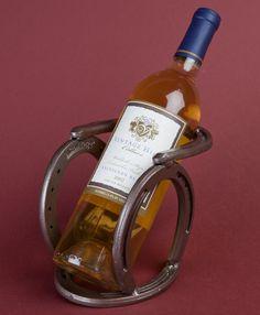 Western horseshoe wine bottle holder. Original design by Bar 18 Creations.