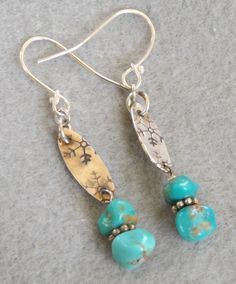 Turquoise and sterling handmade earrings by RavenMeadowsStudio