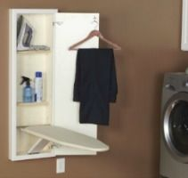 This in wall ironing board is a great place to store your ironing supplies, as well as folding up your board for easy storage when its not in use.