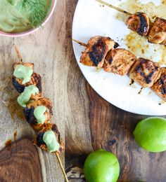 Chipotle Lime Grilled Chicken Skewers With Avocado Ranch