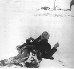 Wounded Knee. The Indians that were killed lay frozen. When a photographer rolled the frozen body over to take a picture, this was the result. To date, the Sioux have never released the land to the US. It is sacred to them. The unclaimed money is worth more than 600 million today!