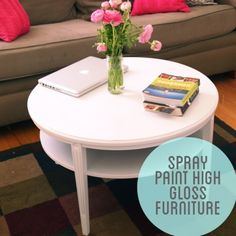 DIY - Turning a ratty couch table into a visually appealing piece. Step-by-Step Tutorial using Spray Paint + Rustoliam Clear Gloss Enamel Spray Paint.