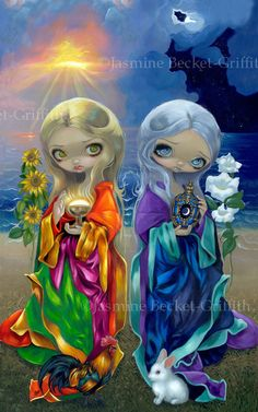 Sun Child and Moon Child day night flowers fairy art print by Jasmine Becket-Griffith BIG 11.75x18.75