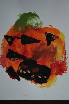 Fall craft and art project for kids: smoosh and stamp pumpkins.