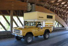 Bronco Camper Special on a Bridge.