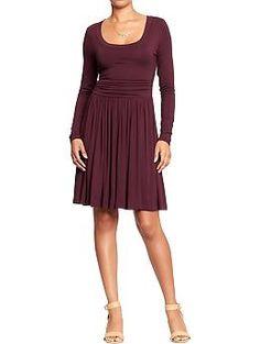 Womens Elastic-Waist Jersey Dresses