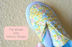 Tie Shoes into Velcro Shoes
