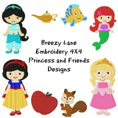 Princess Design Set 2 4X4 and 5X7: Breezy Lane Embroidery