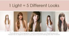 Get 5 different looks using 1 light!  Great off-camera flash lighting tips via iHeartFaces.com.  #photography
