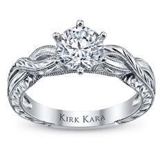 Kirk Kara 18K White Gold Diamond Engagement Ring Setting