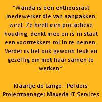 Recommendation van Klaartje de Lange - Pelders | Projectmanager Maxeda IT Services