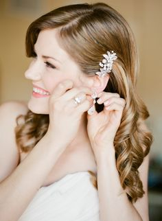 Long Hairstyle for Wedding - Jeweled Hair Accessory - See the wedding on SMP here: http://www.StyleMePretty.com/2014/06/03/timeless-austin-wedding-at-chateau-bellevue/  Photography: TaylorLord.com