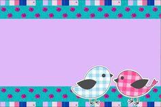 Passarinhos Rosa e Azul – Kit Completo com molduras para convites, rótulos para guloseimas, lembrancinhas e imagens! |Fazendo a Nossa Festa