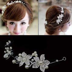BRIDAL WEDDING BRIDES FLOWER IVORY PEARL RHINESTONE CRYSTAL HAIR APPLIQUE TIARA