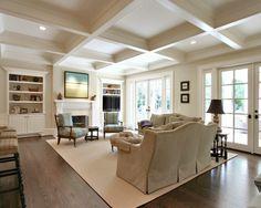 Beautiful dark stained Red Oak hardwood floors in this den!