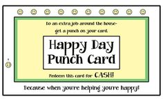 Punch card for extra chores