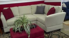 """Small Scale Sectional - 4 piece with standard Corner Unit  This one measures 81"""" x 58"""" and 30.5""""d x 35""""h shown in our NEW Crypton Moss Kid Proof Fabric and box cushions with Lorelei Arms.  Sectionals can be made larger by adding additional Armless Units"""