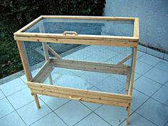 I like this idea. Changes: Lower base to the ground (pre-made feet from Lowes) w/ drop down door so Bea can come and go into her cage as she pleases. Base will be wood, back will be beadboard.
